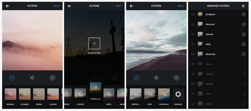 Manage filters Instagram