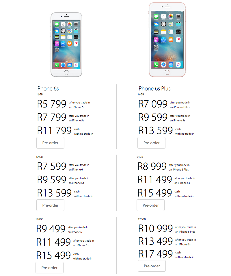 MyiStore iPhone 6s pricing