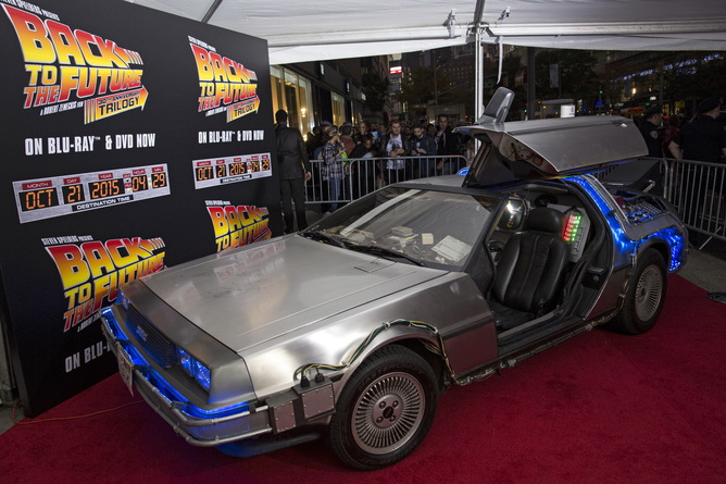 A DeLorean Motor Company DMC-12 sits on the red carpet at the Back to the Future 30th Anniversary screening in the Manhattan borough of New York